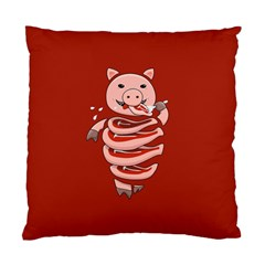 Red Stupid Self Eating Gluttonous Pig Standard Cushion Case (two Sides) by CreaturesStore