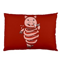Red Stupid Self Eating Gluttonous Pig Pillow Case by CreaturesStore