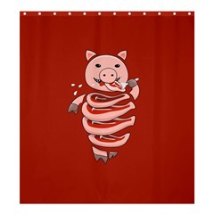 Red Stupid Self Eating Gluttonous Pig Shower Curtain 66  X 72  (large)  by CreaturesStore