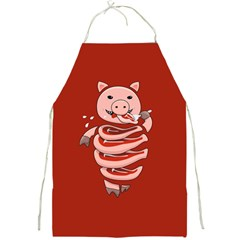 Red Stupid Self Eating Gluttonous Pig Full Print Aprons by CreaturesStore