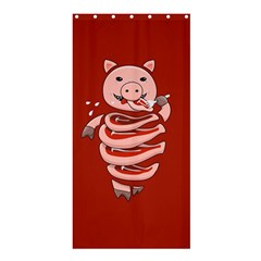 Red Stupid Self Eating Gluttonous Pig Shower Curtain 36  X 72  (stall)  by CreaturesStore