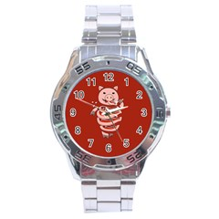 Red Stupid Self Eating Gluttonous Pig Stainless Steel Analogue Watch by CreaturesStore