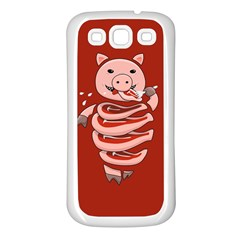 Red Stupid Self Eating Gluttonous Pig Samsung Galaxy S3 Back Case (white) by CreaturesStore