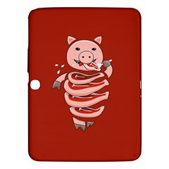 Red Stupid Self Eating Gluttonous Pig Samsung Galaxy Tab 3 (10 1 ) P5200 Hardshell Case  by CreaturesStore