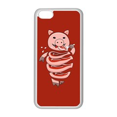 Red Stupid Self Eating Gluttonous Pig Apple Iphone 5c Seamless Case (white) by CreaturesStore