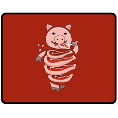 Red Stupid Self Eating Gluttonous Pig Double Sided Fleece Blanket (medium)  by CreaturesStore