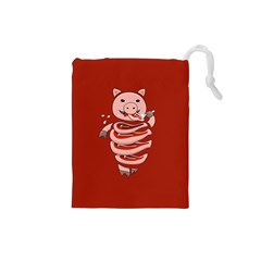 Red Stupid Self Eating Gluttonous Pig Drawstring Pouches (small)  by CreaturesStore