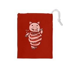 Red Stupid Self Eating Gluttonous Pig Drawstring Pouches (medium)  by CreaturesStore