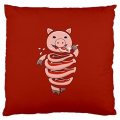 Red Stupid Self Eating Gluttonous Pig Standard Flano Cushion Case (one Side) by CreaturesStore