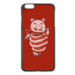 Red Stupid Self Eating Gluttonous Pig Apple Iphone 6 Plus/6s Plus Black Enamel Case by CreaturesStore