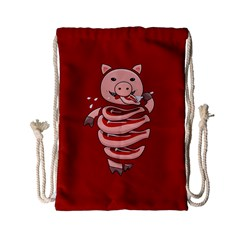 Red Stupid Self Eating Gluttonous Pig Drawstring Bag (small) by CreaturesStore