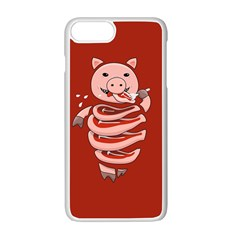 Red Stupid Self Eating Gluttonous Pig Apple Iphone 7 Plus White Seamless Case by CreaturesStore
