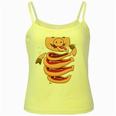 Stupid Gluttonous Self Eating Pig Yellow Spaghetti Tank by CreaturesStore