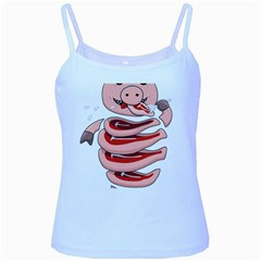 Stupid Gluttonous Self Eating Pig Baby Blue Spaghetti Tank by CreaturesStore