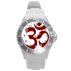 Hindu Om Symbol (dark Red) Round Plastic Sport Watch (l) by abbeyz71
