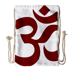 Hindu Om Symbol (dark Red) Drawstring Bag (large) by abbeyz71