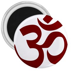 Hindu Om Symbol (dark Red) 3  Magnets by abbeyz71