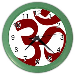 Hindu Om Symbol (dark Red) Color Wall Clocks by abbeyz71