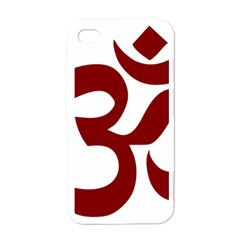 Hindu Om Symbol (dark Red) Apple Iphone 4 Case (white) by abbeyz71