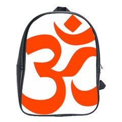Hindu Om Symbol (orange) School Bags(large)  by abbeyz71