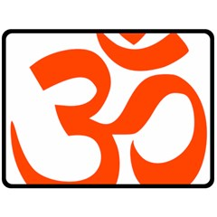 Hindu Om Symbol (orange) Double Sided Fleece Blanket (large)  by abbeyz71