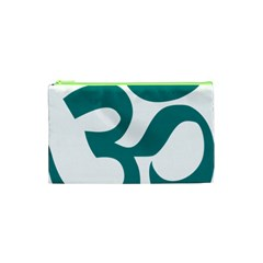 Hindu Om Symbol (teal)  Cosmetic Bag (xs) by abbeyz71