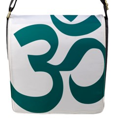Hindu Om Symbol (teal) Flap Messenger Bag (s) by abbeyz71