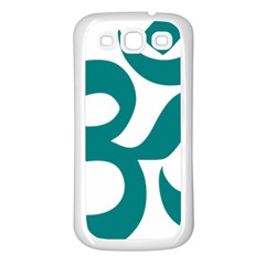 Hindu Om Symbol (teal) Samsung Galaxy S3 Back Case (white) by abbeyz71