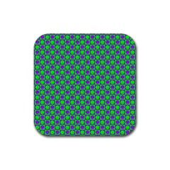 Friendly Retro Pattern A Rubber Square Coaster (4 Pack)  by MoreColorsinLife