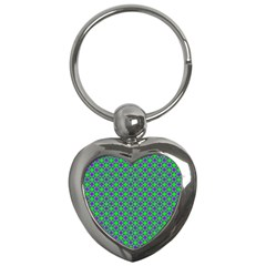 Friendly Retro Pattern A Key Chains (heart)  by MoreColorsinLife