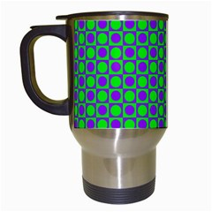 Friendly Retro Pattern A Travel Mugs (white) by MoreColorsinLife