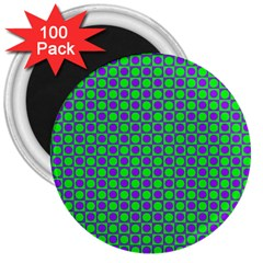 Friendly Retro Pattern A 3  Magnets (100 Pack) by MoreColorsinLife