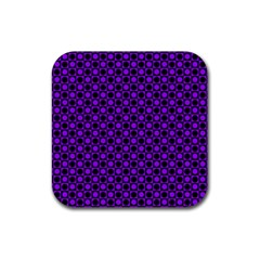 Friendly Retro Pattern B Rubber Square Coaster (4 Pack)