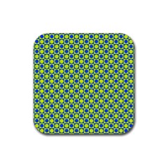 Friendly Retro Pattern C Rubber Square Coaster (4 Pack)  by MoreColorsinLife