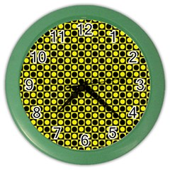 Friendly Retro Pattern I Color Wall Clocks by MoreColorsinLife