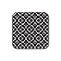 Friendly Retro Pattern H Rubber Square Coaster (4 Pack)  by MoreColorsinLife