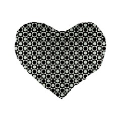 Friendly Retro Pattern H Standard 16  Premium Heart Shape Cushions by MoreColorsinLife