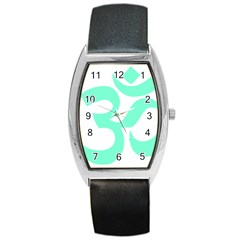 Hindu Om Symbol (cyan Blue) Barrel Style Metal Watch by abbeyz71