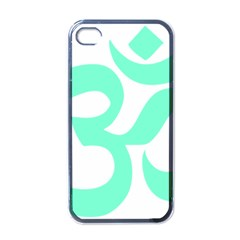 Hindu Om Symbol (cyan Blue) Apple Iphone 4 Case (black) by abbeyz71