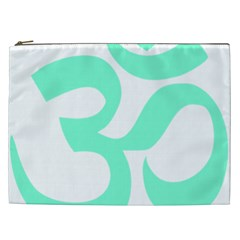 Hindu Om Symbol (cyan Blue) Cosmetic Bag (xxl)  by abbeyz71