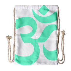 Hindu Om Symbol (cyan Blue) Drawstring Bag (large) by abbeyz71