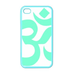 Hindu Om Symbol (cyan Blue) Apple Iphone 4 Case (color) by abbeyz71