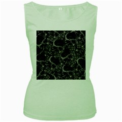 Skulls Pattern Women s Green Tank Top by ValentinaDesign