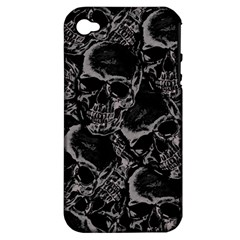 Skulls Pattern Apple Iphone 4/4s Hardshell Case (pc+silicone) by ValentinaDesign