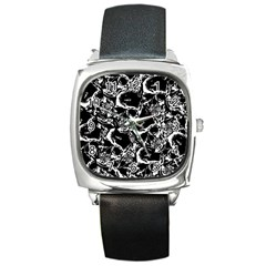 Skulls Pattern Square Metal Watch by ValentinaDesign