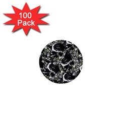 Skulls Pattern 1  Mini Buttons (100 Pack)  by ValentinaDesign