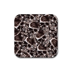 Skull Pattern Rubber Coaster (square)  by ValentinaDesign