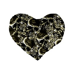 Skull Pattern Standard 16  Premium Flano Heart Shape Cushions by ValentinaDesign