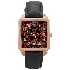 Skull Pattern Rose Gold Leather Watch  by ValentinaDesign
