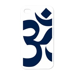 Hindu Om Symbol (dark Blue) Apple Iphone 4 Case (white) by abbeyz71